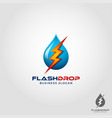 flash drop - electric water logo template vector image vector image