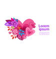 flower heart shape on white background with copy vector image vector image