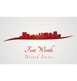 Fort Worth skyline in red vector image vector image