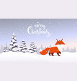 fox winter forest vector image vector image