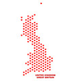 great britain map - mosaic of lovely hearts vector image vector image