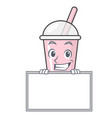 grinning with board raspberry bubble tea character vector image vector image