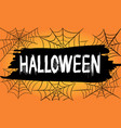 happy halloween text banner with spider web and vector image vector image