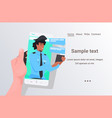 human hand using smartphone chatting with vector image vector image