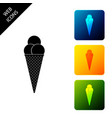 ice cream in waffle cone icon isolated set icons vector image vector image