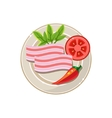 Lard Pepper and Tomato Served Food vector image vector image