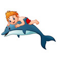 little boy cartoon riding dolphins vector image vector image