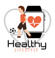 man playing soccer ball smartphone heart rate vector image