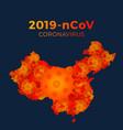 map china from coronavirus molecules vector image