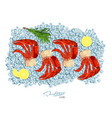 meat crab with rosemary and lemon on ice cubes vector image vector image