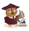 Owl teacher and microscope vector image vector image
