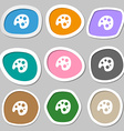 Palette icon symbols Multicolored paper stickers vector image