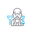 plumber thin line stroke icon plumber vector image vector image