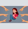 sad teen girl getting harassed online vector image