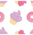 seamless pattern with pink sweets vector image vector image