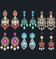 set jewelry earrings with precious stones vector image vector image