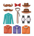 set male accessories icons vector image