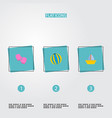 set of child icons flat style symbols with boat vector image vector image