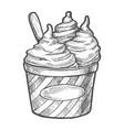 sketch soft ice cream in paper cup frozen dessert vector image vector image
