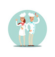 smiling restaurant chefs professional cooks in vector image