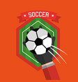 soccer hand holding ball badge sport vector image vector image