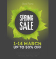 spring sale poster template with leaves and frame vector image vector image