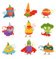 superhero vegetables in masks and capes set of vector image