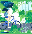 teenage girl riding the bicycle on the bike path vector image