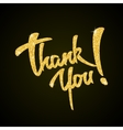Thank you - gold glitter hand lettering on black vector image