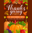 thanks giving party flyer with pumpkins vector image vector image