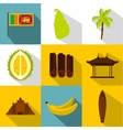 Tourism in Sri Lanka icons set flat style vector image vector image