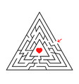 triangular labyrinth with an input and an exit vector image vector image