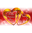 Valentines composition with gold hearts vector image