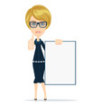 young casual woman holding a white board vector image vector image