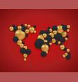 concept global map and christmas balls vector image