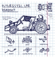 doodle futuristic car scheme in exercise vector image