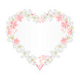 floral frame heart with jasmine and sakura vector image