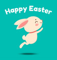 a cute cartoon bunny in a red bow tie is jumping vector image vector image