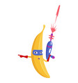 banana character fruit in superhero costume vector image