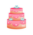 beautiful multi-tiered festive wedding cake vector image
