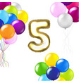 birthday 5 years card with white background vector image vector image
