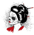 black and white image of japanese geisha vector image vector image