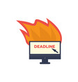 burning office computer monitor deadline vector image