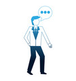 businessman and speech bubble communication vector image