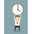 Businessman holding clock over head vector image