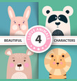 cartoon animal set rabbit panda bear lion vector image