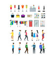 cartoon group characters people in clothing store vector image vector image