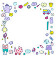 children frame cute toys and furnishings cute vector image vector image
