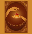 Confectionery sign with cherry cake vector image vector image