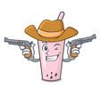cowboy raspberry bubble tea character cartoon vector image vector image